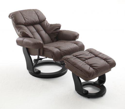 Relaxsessel Calgary in braun Leder und schwarz mit Hocker Funktionssessel 90 x 104 cm Schlafsessel Fernsehsessel