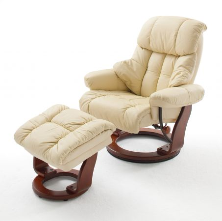 Relaxsessel Calgary in Creme Leder und Walnuss mit Hocker Funktionssessel 90 x 104 cm Schlafsessel Fernsehsessel