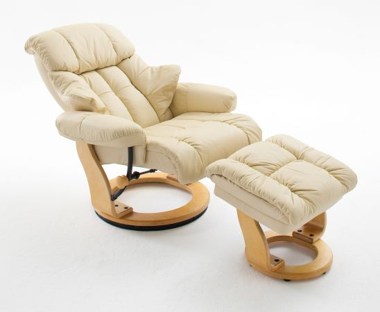 Relaxsessel Calgary in Creme Leder und Natur mit Hocker Funktionssessel 90 x 104 cm Schlafsessel Fernsehsessel