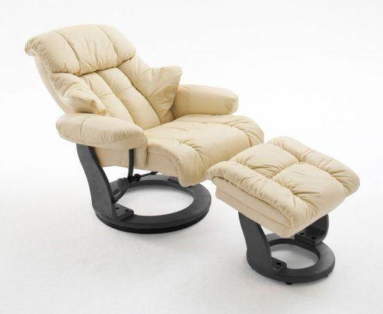 Relaxsessel Calgary in Creme Leder und schwarz mit Hocker Funktionssessel 90 x 104 cm Schlafsessel Fernsehsessel