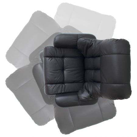 Relaxsessel Calgary in schwarz Leder und Natur mit Hocker Funktionssessel 90 x 104 cm Schlafsessel Fernsehsessel