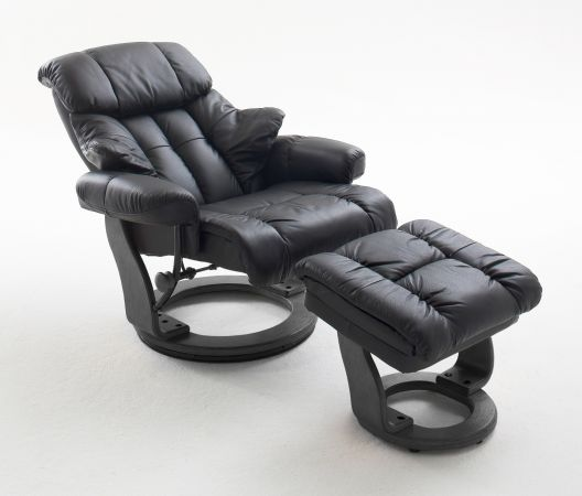 Relaxsessel Calgary in schwarz Leder mit Hocker Funktionssessel 90 x 104 cm Schlafsessel Fernsehsessel