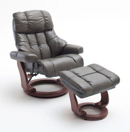 Relaxsessel Calgary in schlamm grau Leder und Walnuss mit Hocker Funktionssessel 90 x 104 cm Schlafsessel Fernsehsessel