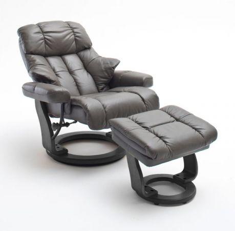 Relaxsessel Calgary in schlamm grau Leder und schwarz mit Hocker Funktionssessel 90 x 104 cm Schlafsessel Fernsehsessel