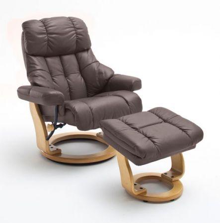 Relaxsessel Calgary XXL in braun Leder und Natur mit Hocker Funktionssessel bis 180 kg Schlafsessel Fernsehsessel