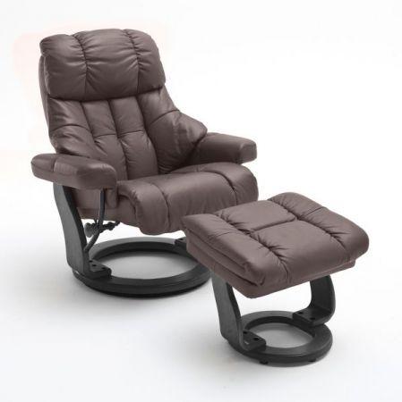 Relaxsessel Calgary XXL in braun Leder und schwarz mit Hocker Funktionssessel bis 180 kg Schlafsessel Fernsehsessel