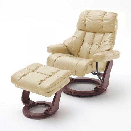Relaxsessel Calgary XXL in Creme Leder und Walnuss mit Hocker Funktionssessel bis 180 kg Schlafsessel Fernsehsessel