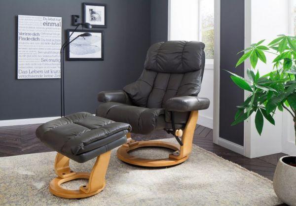 Relaxsessel Calgary XXL in schwarz Leder und Walnuss mit Hocker Funktionssessel bis 180 kg Schlafsessel Fernsehsessel