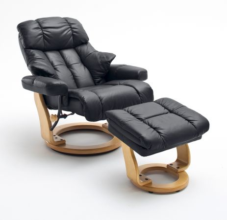 Relaxsessel Calgary XXL in schwarz Leder und Natur mit Hocker Funktionssessel bis 180 kg Schlafsessel Fernsehsessel