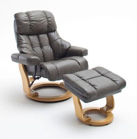 Relaxsessel Calgary XXL in schlamm grau Leder und Natur mit Hocker Funktionssessel bis 180 kg Schlafsessel Fernsehsessel