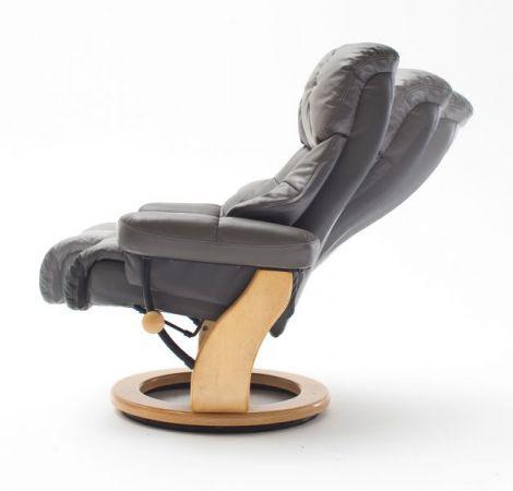 Relaxsessel Calgary XXL in schlamm grau Leder und schwarz mit Hocker Funktionssessel bis 180 kg Schlafsessel Fernsehsessel