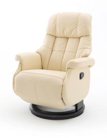 Relaxsessel Calgary L in Creme Leder und schwarz Funktionssessel bis 130 kg Schlafsessel Fernsehsessel 77 x 111 cm