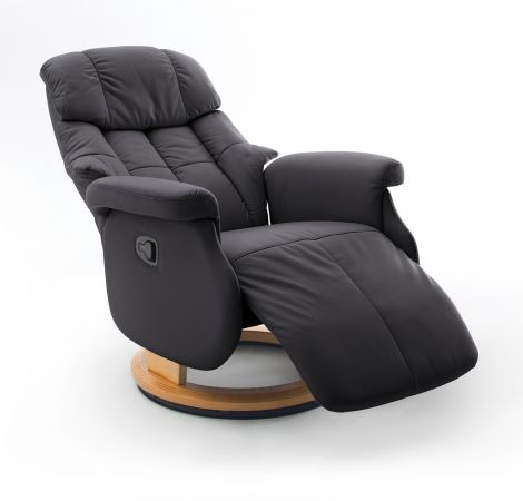 Relaxsessel Calgary L in schwarz und Natur Leder Funktionssessel bis 130 kg Schlafsessel Fernsehsessel 77 x 111 cm