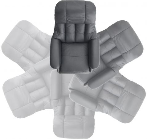 Relaxsessel Calgary L in schlamm grau und schwarz Leder Funktionssessel bis 130 kg Schlafsessel Fernsehsessel 77 x 111 cm