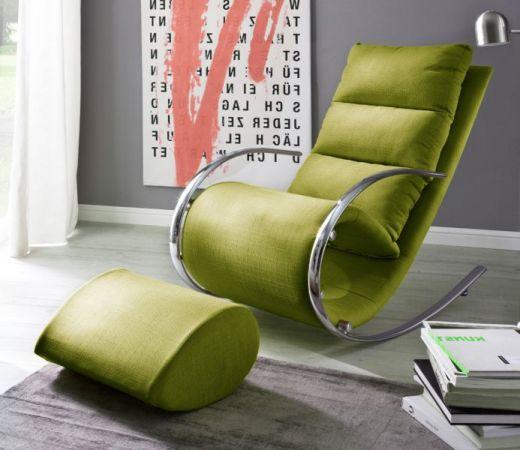Relaxsessel Schaukelsessel York in grün mit Hocker Funktionssessel 67 x 111 cm Schlafsessel Fernsehsessel