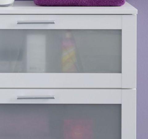 Badezimmer Badmöbel Set 3-teilig Florida weiß und Glas satiniert 115 x 188 cm