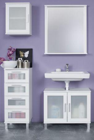 Badezimmer Badmöbel Set 4-teilig Florida weiß und Glas satiniert 115 x 188 cm