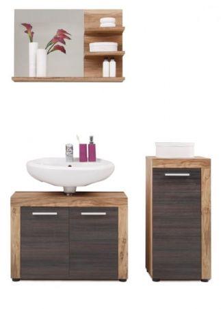 Badmöbel Set Cancun in Nussbaum Satin und Touchwood dunkelbraun Badkombination 3-teilig 123 x 174 cm