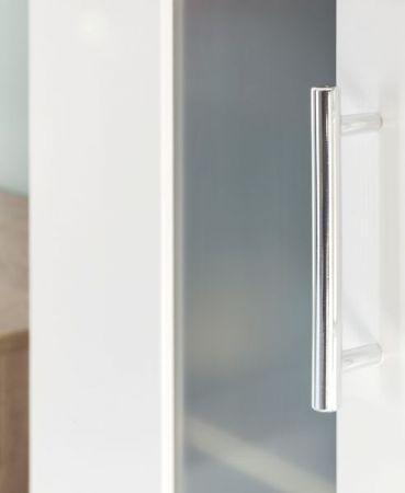 Badezimmer Badmöbel Set Porto in weiß und Eiche sägerau hell Badkombination 2-teilig mit Glas satiniert 65 x 191 cm