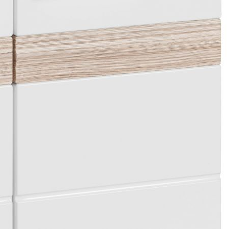 Badkombination SetOne in Hochglanz weiß und Eiche San Remo Badmöbel Set 3-teilig Badezimmer 110 x 182 cm