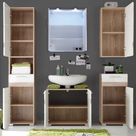 Badkombination SetOne in Hochglanz weiß und Eiche San Remo Badmöbel Set 5-teilig Badezimmer 160 x 182 cm