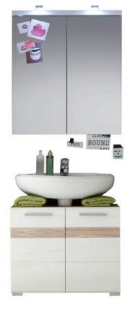 Badkombination SetOne in Hochglanz weiß und Eiche San Remo Badmöbel Set 2-teilig Badezimmer 60 x 172 cm