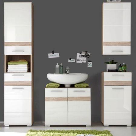 Badkombination SetOne in Hochglanz weiß und Eiche San Remo Badmöbel Set 4-teilig Badezimmer 159 x 182 cm