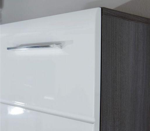 Kommode Line in weiß Hochglanz und Sardegna grau Rauchsilber Anrichte 80 x 86 cm Sideboard