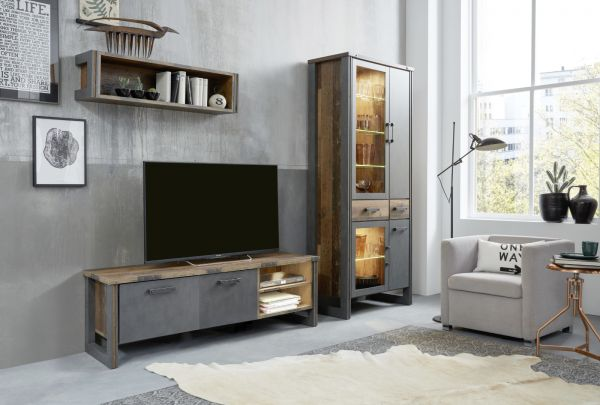 Wohnwand Prime in Old Used Wood Design mit Matera grau Schrankwand 3-teilig Shabby 282 x 212 cm