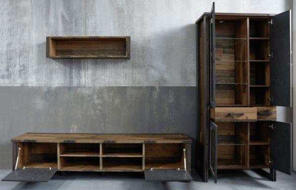 Wohnwand Prime in Old Used Wood Design mit Matera grau Schrankwand 3-teilig Shabby 311 x 212 cm
