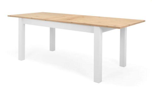 """Esstisch """"Bergen"""" in weiß und Eiche, Landhausstil, ausziehbar 160 / 215 x 90 cm"""