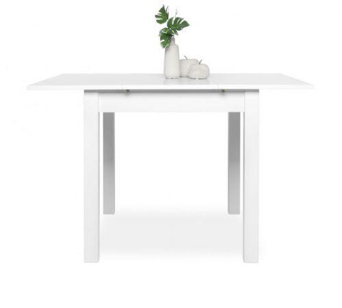 """Esstisch """"Coburg"""" in weiß ausziehbar mit Einlegeplatte 80 / 120 x 80 cm"""
