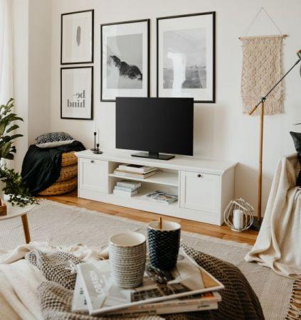 TV-Lowboard Landwood in weiß Landhaus Fernsehtisch 160 x 48 cm TV-Unterteil