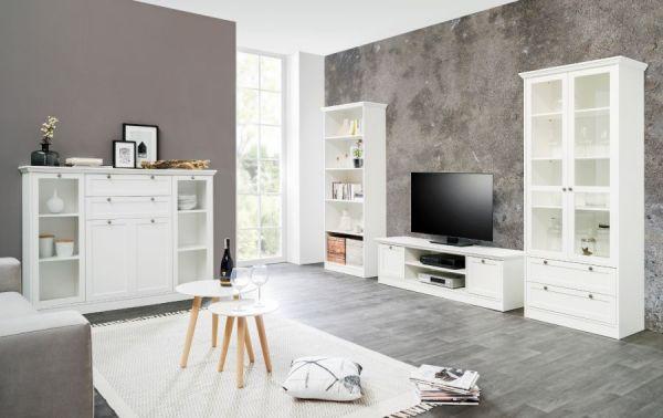 Schreibtisch Landwood in weiß Landhaus Laptoptisch für Homeoffice und Büro 136 x 63 cm