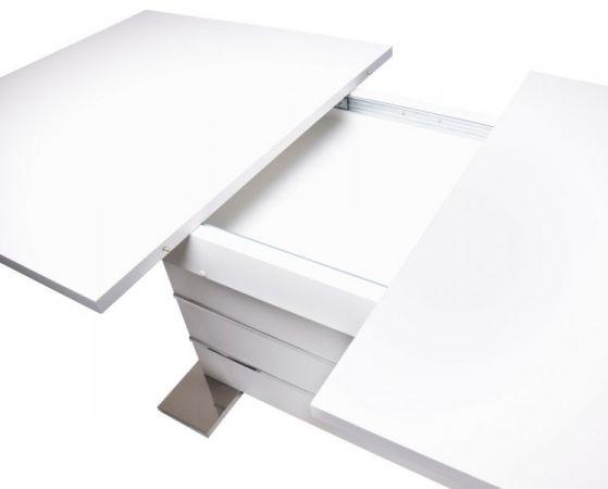 """Esstisch """"Mantova"""" in weiß und Chrom ausziehbar 160 - 200 x 90 cm"""