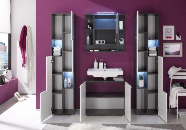 Waschbeckenunterschrank in weiß Hochglanz und Graphit grau 70 cm Badmöbel Tetis
