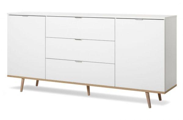 "Sideboard ""Göteborg"" in matt weiß Kommode skandinavisch 180 x 87 cm"