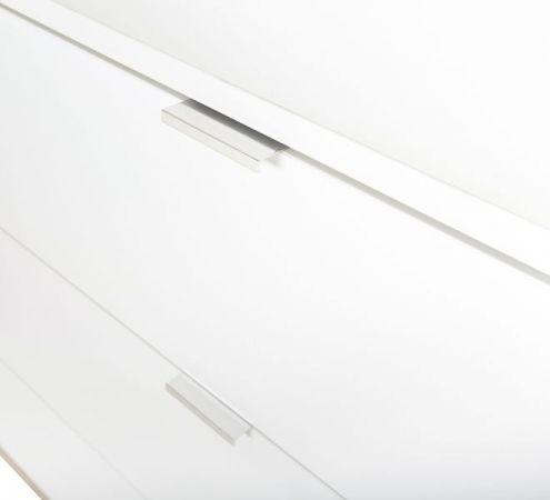 Highboard Göteborg in matt weiß mit Sonoma Eiche massiv Vitrine skandinavisch 100 x 140 cm