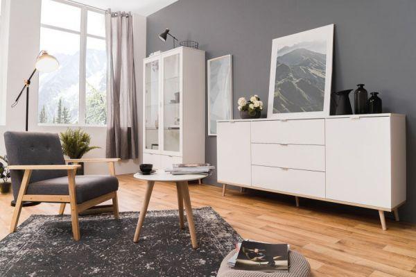 Vitrine Göteborg in matt weiß mit Sonoma Eiche massiv Vitrinenschrank skandinavisch 100 x 186 cm