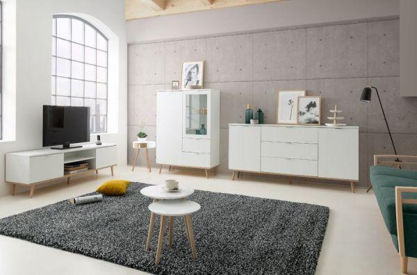TV-Lowboard Göteborg in matt weiß mit Sonoma Eiche massiv Fernsehtisch skandinavisch 160 x 51 cm TV-Unterteil