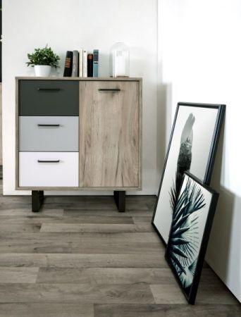 Kommode Orlando in Eiche grau mit Anthrazit, Weiß und Grau Anrichte Tricolor 80 x 86 cm Sideboard