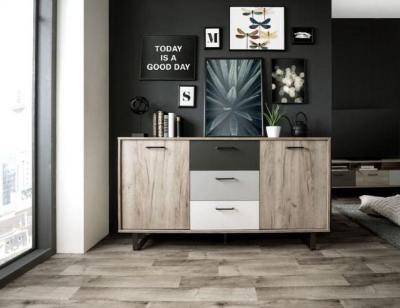 Sideboard Orlando in Eiche grau mit Anthrazit, Weiß und Grau Kommode Tricolor 160 x 86 cm Anrichte