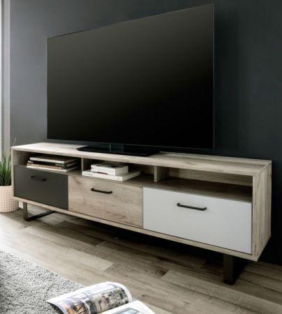 TV-Lowboard Orlando in Eiche grau mit Anthrazit und Grau Fernsehtisch Tricolor 160 x 53 cm TV-Unterteil