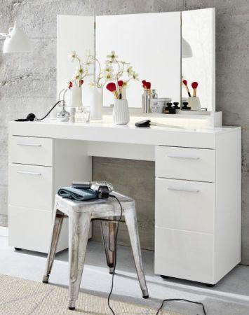"""Schminktisch """"Amanda"""" in weiß Hochglanz 120 x 141 cm mit Schubkasten und Spiegel"""