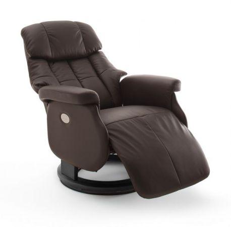 Relaxsessel Calgary XL in braun Leder und schwarz elektrisch verstellbar Funktionssessel bis 150 kg Fernsehsessel 82 x 111 cm