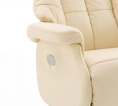 Relaxsessel Calgary XL in Creme Leder und schwarz elektrisch verstellbar Funktionssessel bis 150 kg Fernsehsessel 82 x 111 cm
