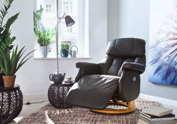 Relaxsessel Calgary XL in schlamm grau Leder und Natur elektrisch verstellbar Funktionssessel bis 150 kg Fernsehsessel 82 x 111 cm