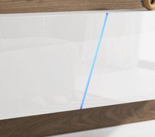 """TV Lowboard """"Space"""" in weiß Hochglanz Lack TV Unterteil hängend / stehend 160 cm mit LED"""