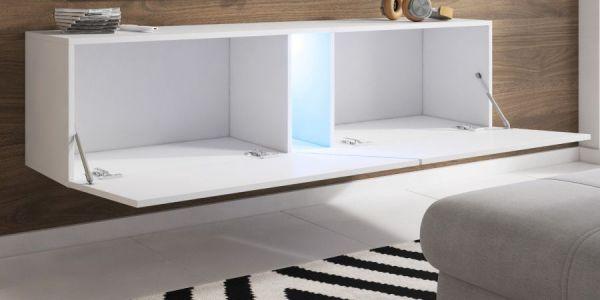 """TV Lowboard """"Space"""" in schwarz Hochglanz Lack TV Unterteil hängend / stehend 160 cm mit LED"""
