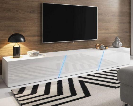 TV-Lowboard Space in Hochglanz weiß Lack TV-Unterteil hängend / stehend XXL-Board 240 cm mit LED